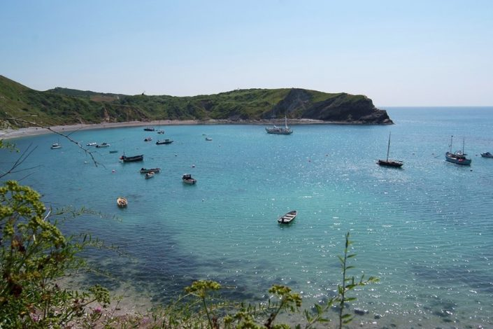 Dorset's famous coastline includes Lulworth Cove, another great day trip from the cottage.